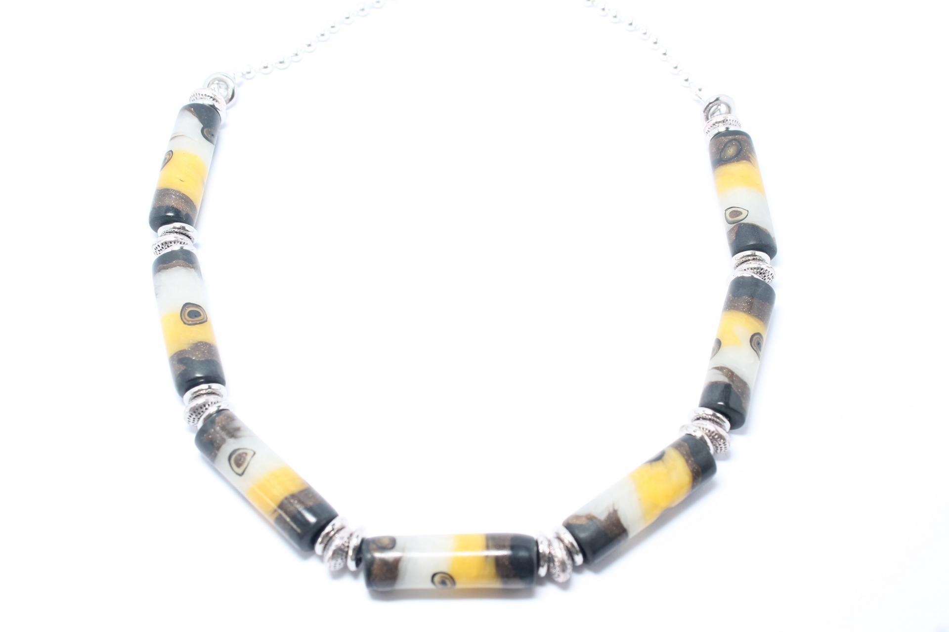 Collier verre de murano jaune 001